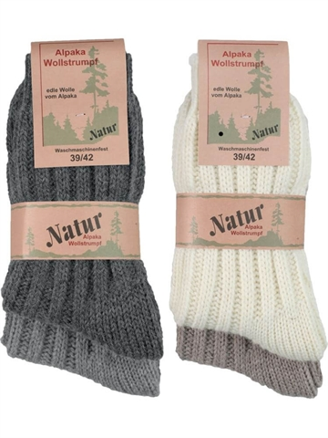 9492585e5a3 Unisex uldstrømpe - Soft Alpaka - Grå/Lys Grå , Uldhvid/Natur. 2-PAK Unisex  Soft Alpaka uldstrømper i 4 farver