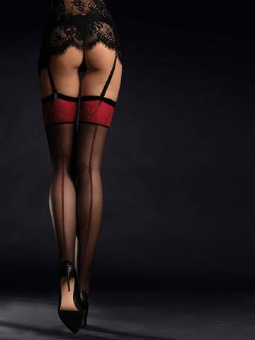 Stockings - Scarlett - Sort/Rød
